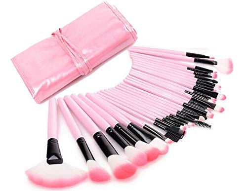 Bigbuyu 32 Pcs PinK Makeup Brushes Set Professional Cosmetic Makeup Ultra Soft Brushes Set Kit with Pouch Bag Case (Beauty Makeup Piece 32 Set)
