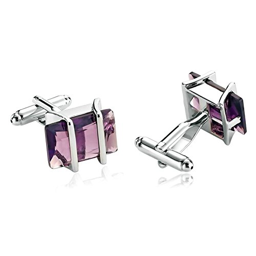 Aooaz Mens Cufflinks Stainless Steel Pearl Rectangle Shirt Purple Cufflinks Suit Mens Xmas Gift Box ()