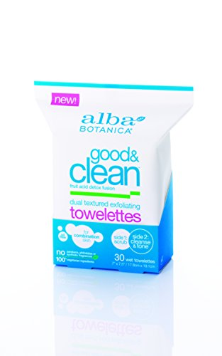 Alba Botanica Good and Clean Dual Textured Exfoliating Towelettes, 30 Count