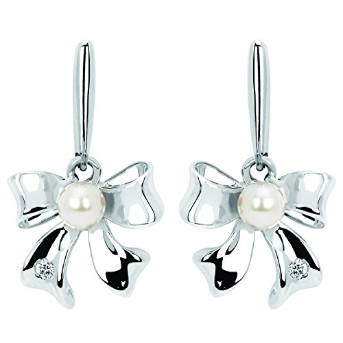 Little Diva Diamonds 925 Sterling Silver .02 Ctw Diamond Accent & Pearl Bow Drop Earrings for Girls