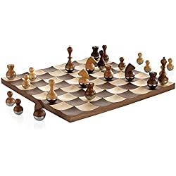Umbra Wobble Chess Set Wooden Curvy Modern Collectors Gift Wood Board Home Decor