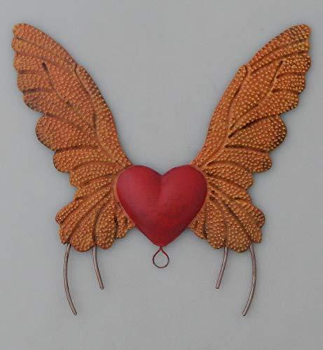 Folk Art Tin - Color y Tradicion Mexican Tin Heart Wall Hanging Folk Art Handmade Wings Heart # 110