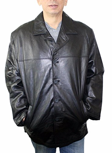 Men Genuine Leather Long car Coat Jacket Buttons Closure Big Sizes 6Xl (Genuine Leather Jacket Coat)