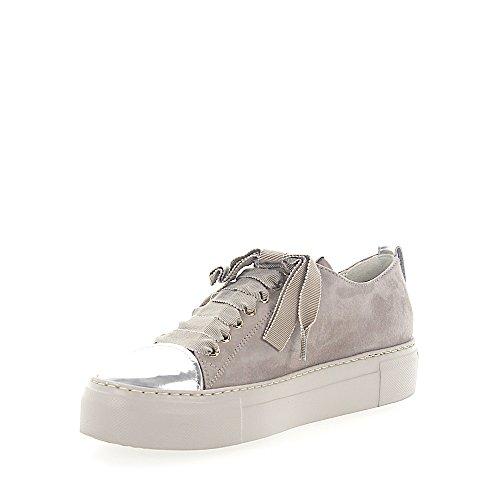 Agl Attilio Giusti Leombruni Sneaker D925065 Veloursleder Grau Leder Metallic Silber