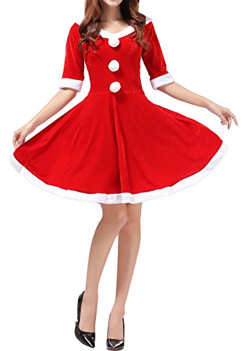 Womens Velvet Santa Christmas Costume Half Sleeves Cosplay Dance Dress (One Size, Red 12) (Naughty Santa Helper Outfits)