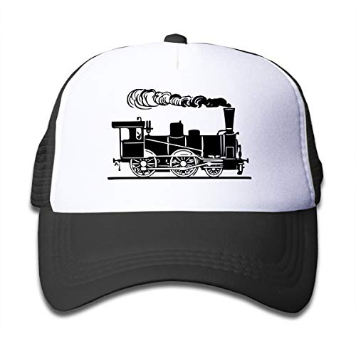 (Rhfjgk Ldjg Steam Train Railway Mesh Caps Baseball Trucker Hat Adjustable for Boy Black)