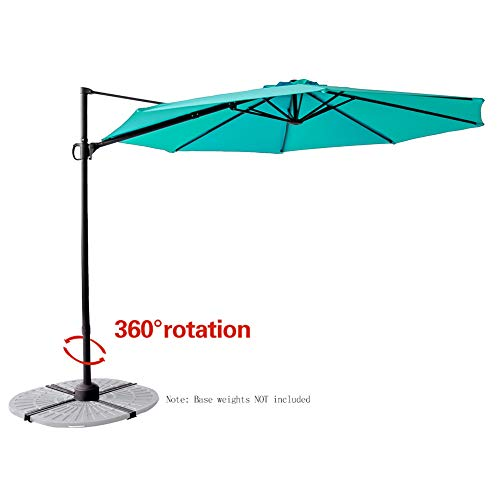 - C-Hopetree 10' Cantilever Offset Hanging Market Style Umbrella with Tilt for Large Outdoor Patio Table Balcony Deck or Terrace, Aqua Blue
