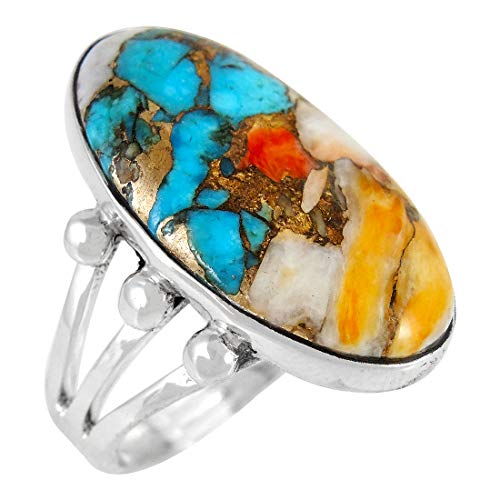 Spiny Oyster Turquoise Ring Sterling Silver (Pick Style) (Classic Oval, 6) - Matrix Turquoise Ring