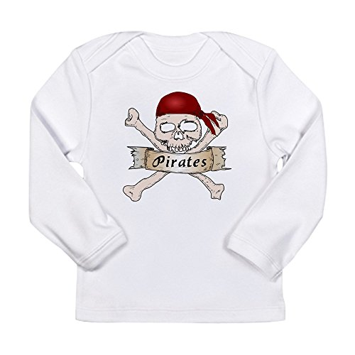 - Truly Teague Long Sleeve Infant T-Shirt Simply Pirates Skull & Crossbones - Cloud White, 12 To 18 Months