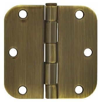 "50 Pack Polished Brass 3.5/"" x 3.5/"" 5//8 Radius Round Corner Interior Door Hinges"