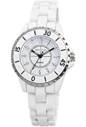 Scheppend Women's White Dial White Ceramic Strap Retro Wrist Watch