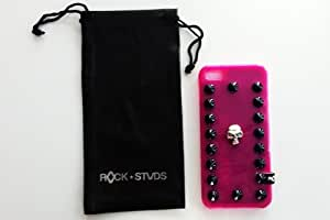 Carcasa Iphone 5, Cover de Gel Silicona Rosa, Case con Tachas Puestas a Mano + Funda para móvil - Original Rock Studs