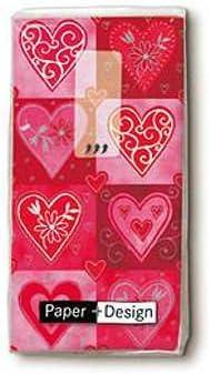 Filigree Hearts Novelty Paper Tissues Handbag//Pocket Sized