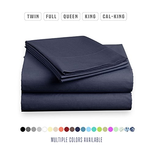 Luxe Bedding Sets - Microfiber Full Sheet Set 4 Piece Bed Sheets, Pillow Cases, Flat Sheet, Deep Pocket Fitted Sheet Set Full Size - Navy Blue Flat Sheet Full Bedding