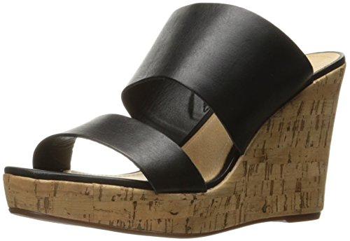 Schutz Women's Kai Wedge Sandal, Black, 8 M US