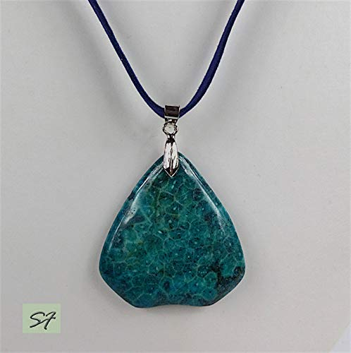 Pendant Coral fossil Large Blue-Green on a long suede cord