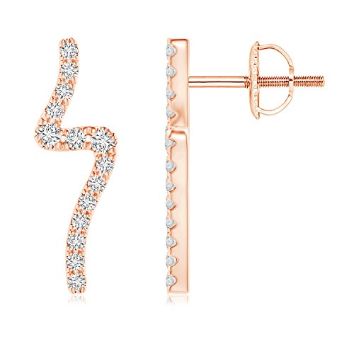 Diamond Wave Stud Earrings in 14K Rose Gold (1.4mm - Wave 14k Design Gold Earring