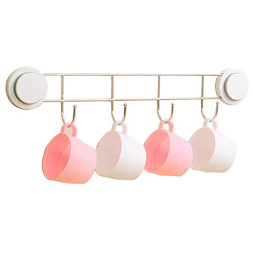 lovely Ultra-Adhering Dual Vacuum Suction Cups Stainless Steel 4 Hooks Towel Coat handbags Shopping Bag Hanging for Bathroom Kitchen Bedroom Living Room