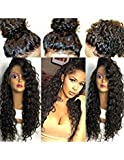 Fushen Hair Silk Top Curly Lace Front Wigs 4x4 Silk Base Wigs 8A Virgin Brazilian Curly Human Hair Wigs for Balck Women(16 inch with 130% Density, silk top lace front wig)
