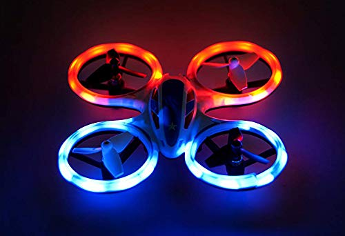 Wonder Chopper Sky Patroller Mini LED Stunt Drone RC Quadcopter Red and Blue w/ 360 Flip: 2.4GHz, 4 CH, Landing Pad Included, Crash Proof, for Kids Friendly, Beginner Friendly (Chopper Mini Kids)