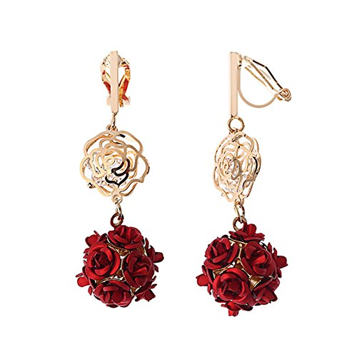 (Red Clip on Earrings Rose Drops Floral Long Earring for Women Filigree Disc Flower Dangle)