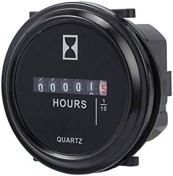 AMTOVL Quartz Hour Meter Round DC 12v 24v 36v 48V 60V 72V Hour Meter Gauge for ATV Boats Marine Motorcycles Snowmobile Lawn Tractors Tracking Engine Hours
