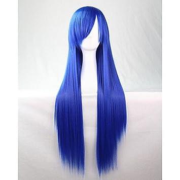 OOFAY JF® cos animado brillante pelucas de colores azul larga peluca de pelo recto 80