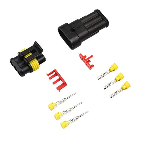 Gimax 1Set 1/2/3/4/5/6 Pin Way Seal Quad Bike 12A IP68 Waterproof Electrical Automotive Wire Connector Plug Terminals for Car - (Color: 3 PIN)