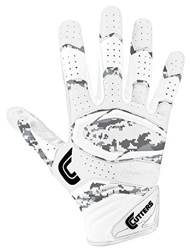 Cutters Gloves S451 Rev Pro 2.0 Receiver Cornerback Gloves with C-Tack Grip, White/CAMO, Youth L