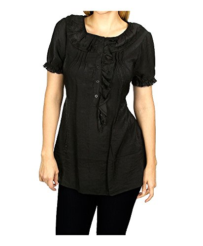 Women's Black Ruffled Short Sleeve Half-Button Tunic Blouse With Lace Trim, Cinched Tie Waist (Cinched Waist Top)