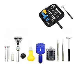 SSJSHOP 15in1 Watch Repair Tool Kit with Nylon Carrying Case