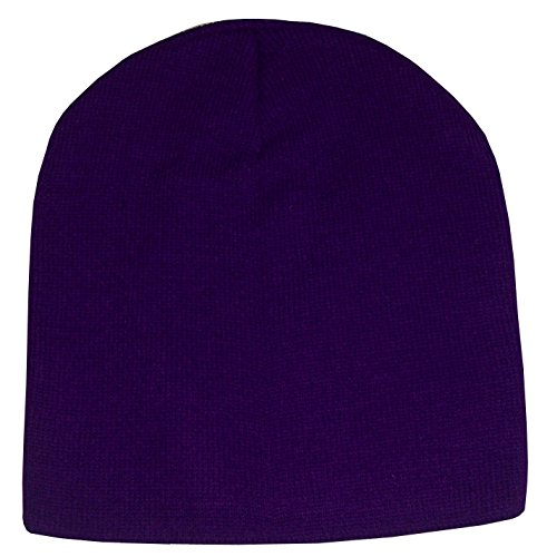 N'Ice Caps Adults Unisex Bulky Double Layered Knitted Beanie Hat (One Size, Dark Purple) (Women Hat For Ice)