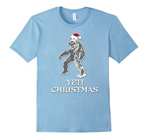 Abominable Snowman Hat (Mens Funny Merry Yeti Christmas Santa Hat T-Shirt 2XL Baby Blue)