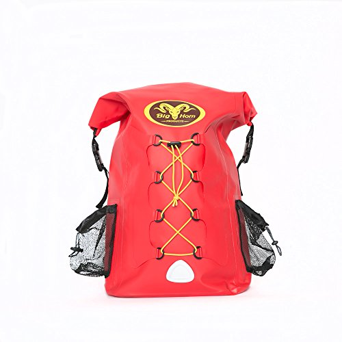 SALE - Waterproof Backpack by Big Horn Products - Large 30L Rolltop Dry Bag Backpack Perfect for Outdoor Adventures (Red)