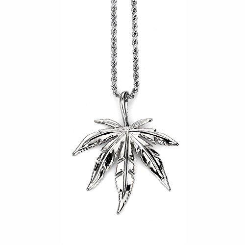 - ZHUOTOP Men Women Hip Hop Charm Hemp Leaf Necklaces Weed Herb Chains Jewelry Gifts Silver