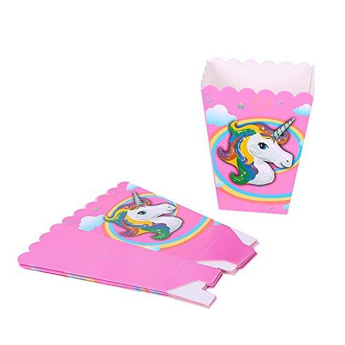Braceus Unicorn Theme Party Supplies Decoration Happy Birthday Paper Cup Plate Hat Box size Popcorn Box 6 (Halloween Party Mix Popcorn)