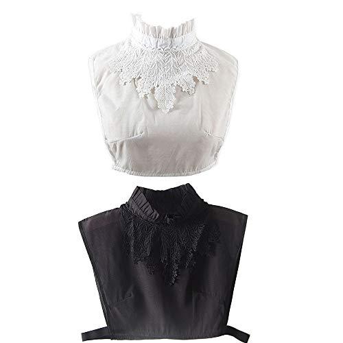YAKEF 2Pcs Fake Collar Detachable Lace Collar Blouse Half Shirts False Collar for Women Girls