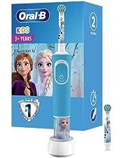 Oral-B Kids Frozen elektrisk tandborste med Disney-klistermärken, 2 penslar, för barn från 3 år, blå
