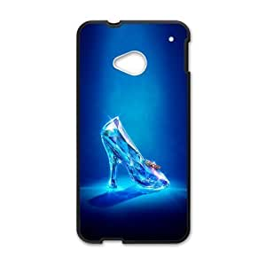 Cinderella 2015 Glass High Heel Shoe Custom Case Cover for HTC One M7(Laser Technology)