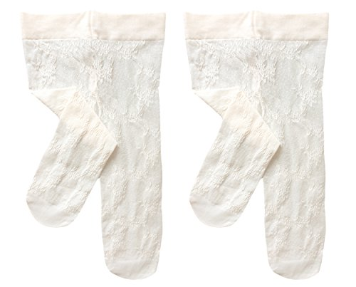 Country Kids Little Girls' Spring Flowers Stretchy Lace Footed Tights, Pack of 2, Fits 6-8 years, Ivory Country Kids Nylon Tights