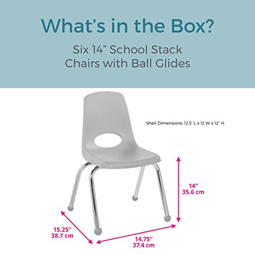 ECR4Kids 14'' School Stack Chair, Chrome Legs with Ball Glides, Blue (6-Pack) by ECR4Kids (Image #2)