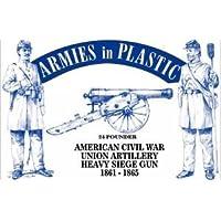 American Civil War Union Artillery Crew (5) w /24-Pounder Cannon 1-32 Armies in Plastic