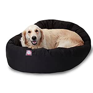 Amazon.com : 40 inch Black Bagel Dog Bed By Majestic Pet