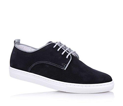 ARMANI - Chaussure à lacets bleue en croûte de cuir, made in Portugal, lacets gris, pièce grise en cuir à l'arrière, logo à forme d'aigle, garçon, garçons