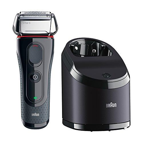 Braun Series 5 5050cc elektrischer Rasierer mit Reinigungsstation mit 2 Reinigungskartuschen (Wet & Dry, Rasierapparat, Elektrorasierer, Trockenrasierer / Nassrasierer, Clean&Charge) grau/silber