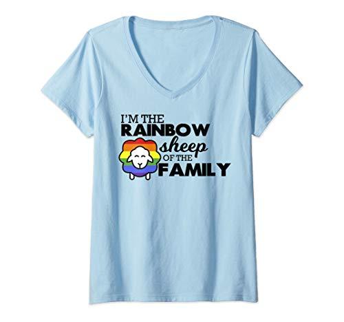 - Womens I Am The Rainbow Sheep Of The Family LGBT shirt  V-Neck T-Shirt