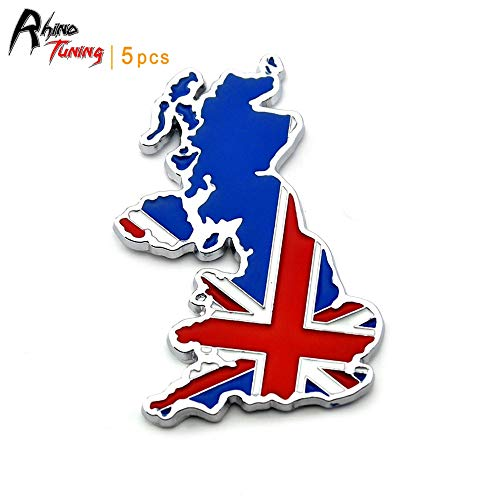 5pc Union Jack England Flag Map Car Rear Boot Trunk Emblem Badge Sticker For Cooper JCW CLUBMAN Countryman Clubvan Coupe