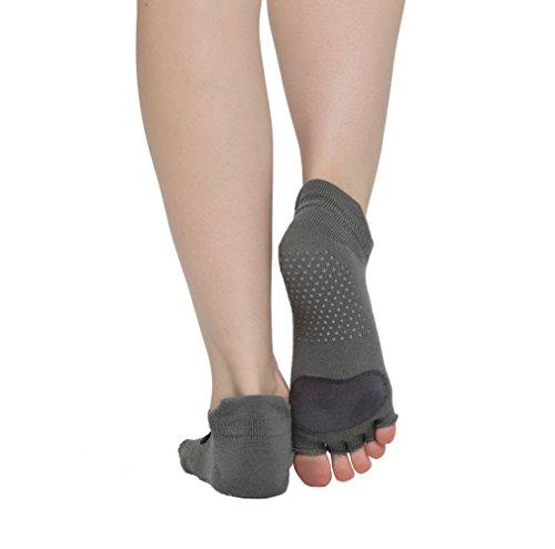Macohome® Yoga Socks Barre Dance Pilates Toeless Non Skid Exercise Half Toe Cattle Sport Socks with Storage bag (Grey)
