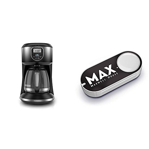 BLACK+DECKER 12-Cup Automatic Programmable Coffeemaker, Ombre Black, CM4002B & Maxwell House Dash Button