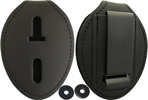 (Oval Police Badge Holder Belt Clip - Optional To Use Around The Neck - Black Leather)